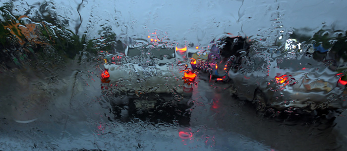 Slower traffic in wet conditions