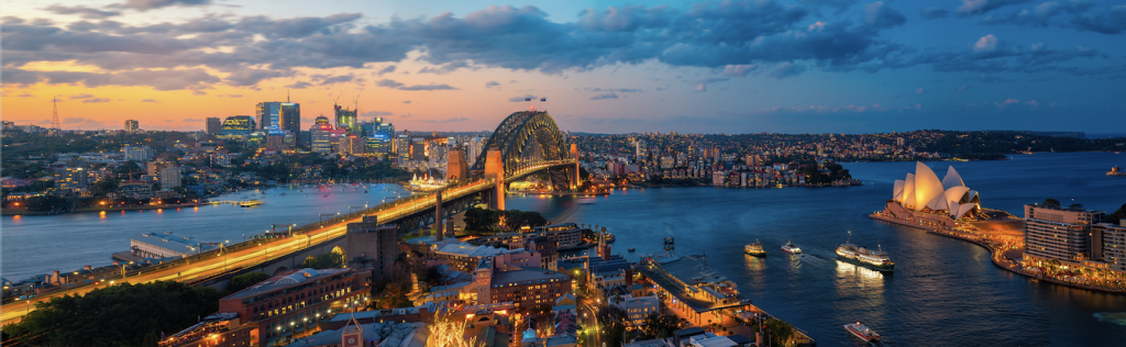 Sydney in the evening lights.
