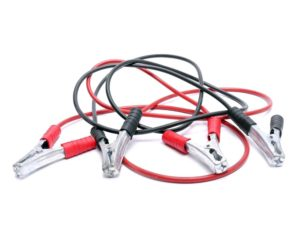 Jumper cables used to jumpstart a car.