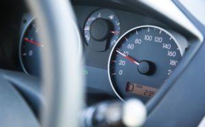 Speedometer gauge showing slow speed.